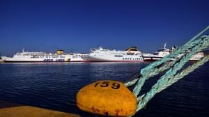 Docked ship due to strike.