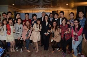 Greek Tourism Minister Olga Kefalogianni (center) with the 16 Chinese couples onboard the Elyros ship of ANEK Lines. Photo: ANEK Lines