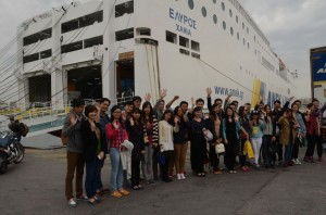 The 16 Chinese couples before boarding the Elyros ship and traveling to their wedding destination: Chania, Crete.