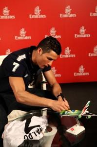 Emirates Global Ambassador Cristiano Ronaldo signing Emirates plane.