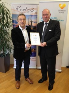 Yiannis Afukatudis, director of Thomas Cook-Neckermann, with Haralambos Palogiannidis, director of the Rhodes Tourism Promotion Organization (PROTOUR).