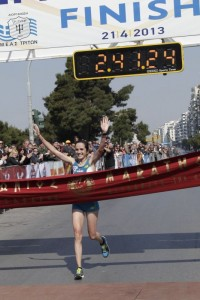 Magda Gazea was the first Greek female to cross the finish line (2:41:26) in the 2013 Alexander the Great marathon.