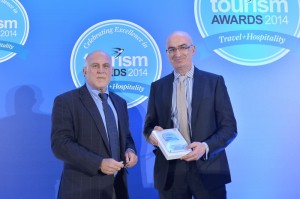 "The president of the Hellenic Chamber of Hotels, Yiorgos Tsakiris (right), accepted the honorary tourism award for the chamber's ""Greek Breakfast"" project."