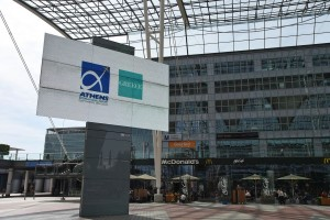 Athens Airport and Greece's logos displayed outside Munich Airport. Photo © Athens International Airport