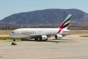 An Emirates aircraft at Athens International Airport. Photo: Emirates