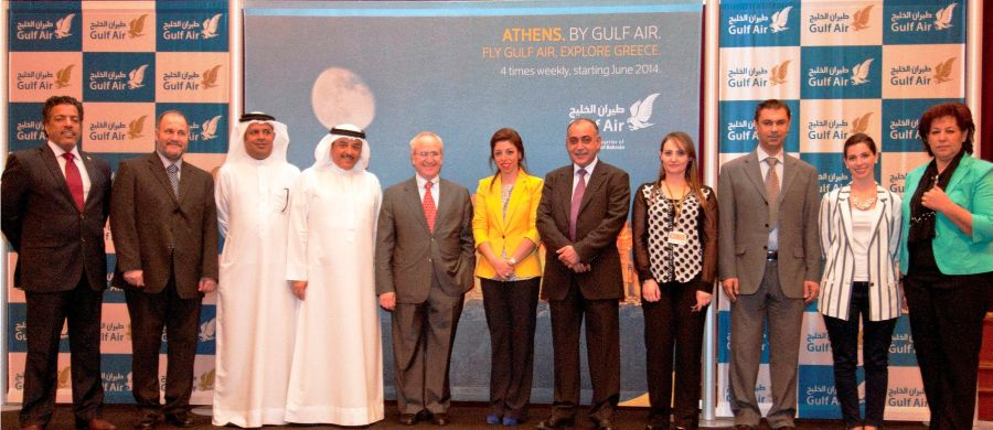 Gulf Air's Acting Chief Executive Officer, Maher Salman AlMusallam and members of Gulf Air's executive management team are seen alongside Dr Theodoros Theodorou, the Ambassador of Greece for Bahrain and Kuwait, with attendees of the Greek travel agent networking event held at the Gulf Hotel. Photo © Gulf Air