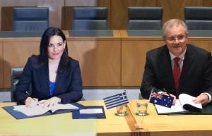 Greek Tourism Minister Olga Kefalogianni and Australian Minister for Immigration and Border Protection Scott Morrison. Photo © Greek Tourism Ministry