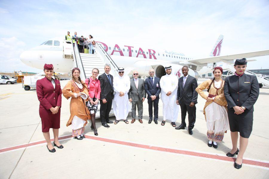 Qatar Airways senior management, invited dignitaries and airport officials at Larnaca International Airport following the arrival of Qatar Airways' first flight to Cyprus. Photo © Qatar Airways