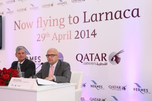 """Scheduled flights between Cyprus and Qatar have long been an aspiration for the airline and we believe travelers will truly appreciate our five-star service, together with the enhanced network of flights to more than 135 destinations around the world,"" Marwan Koleilat (right), Qatar Airways Chief Commercial Officer, said. Photo © Qatar Airways"