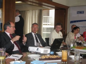 SETE President Andreas Andreadis (center) informed journalists that the revised goal for 2014 is to welcome 19 million tourists to Greece. Photo © GTP