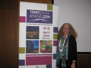 """Mary Jo Manzanares, conference director of TBEX, attended the Travel Trade Athens event held in the Greek capital in April 2014. """"See you in October!"""" she told GTP Headlines. Photo © GTP"""