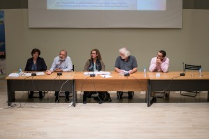 "Open discussion of ""Stop the Destruction of Greek coastline"" group - Panel 2: Margarita Karavasili, Observatory Society on Sustainable Development (CISD); Evangelos Koukiasis, Mediterranean SOS; Stella Kyvelou, SDMed;  Christos Anagnostou, Greek Center for Marine Research; and Fotis Kokotos, Elounda Real Estate Development, SETE. Photo © GTP"