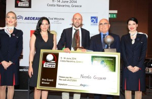 2014 Aegean Pro-Am Individual Professional Winner, Nicolo Gaggero (PGA of Italy) [centre], receiving his winner's cheque for €7,000 from Greek Tourism Minister Olga Kefalogianni [second left] and Aegean Airlines Chairman Theodore Vassilakis [second right]. Photo © Aegean Airlines