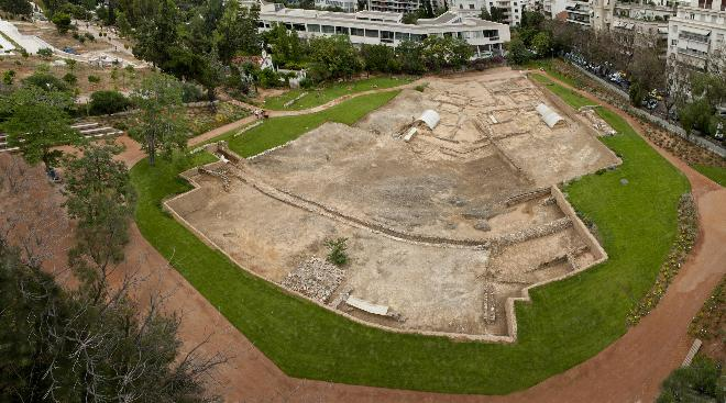 General view of the Archaeological Site of Aristotle's Lyceum from the North. Photo © Hellenic Ministry of Culture and Sports, 3rd Ephorate of Prehistoric and Classical Antiquities