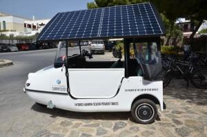 "The solar vehicle ""SUNNYCLIST Hybrid Human Solar Vehicles."" Photo © Creta Maris"