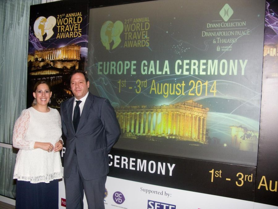 World Travel Awards media event in Athens. Pictured are Divani Collection Hotels' Niki Fotiou, marketing & PR manager; and Spyros Maganiotis, director of sales. Photo © GTP
