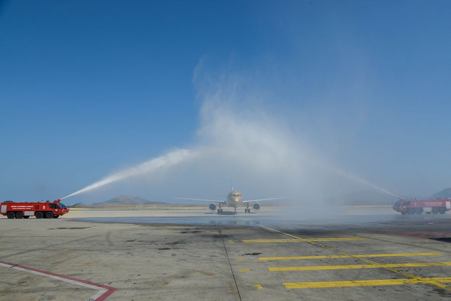Gulf Air receiving a grand water cannon salute at Athens International Airport. Photo © Gulf Air
