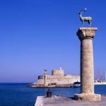 Entrance to Rhodes harbor. Photo © P Phillips, Shutterstock