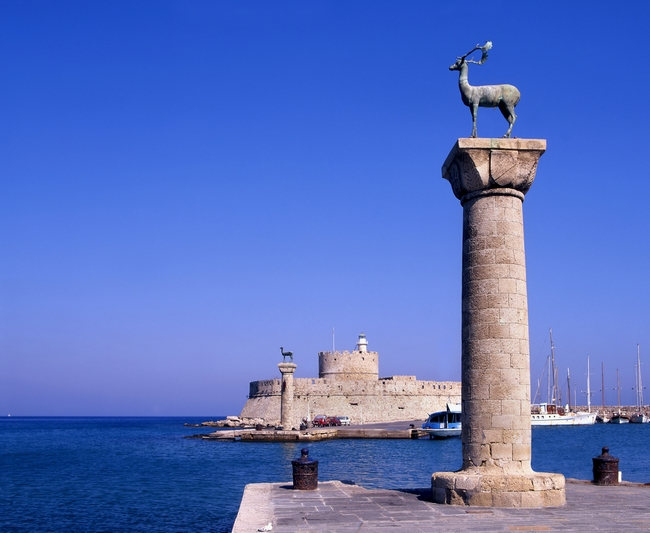 Entrance to Rhodes harbor. Photo © P Phillips, Shutterstock