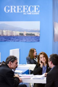 General view of business talks on the Greece stand. Photo © WTM
