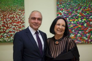 French artist Catherine Canellis with Sofitel's director of sales and marketing, Yiorgos Stavrou, at a cocktail party held in her honor at the hotel. Photo © Sofitel Athens Airport