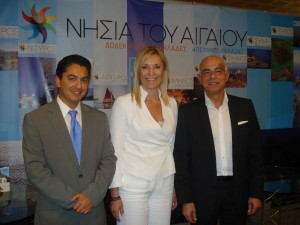 Nikos Sofos, director of Nisyros-Kos tourism promotion agency; Eleftheria Ftaklaki, vice governor of the South Aegean Region; and Tasos Liaskos, secretary general of the Greek Tourism Ministry. Photo © Region of South Aegean