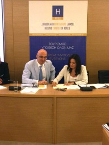 Hellenic Chamber of Hotels President Yiorgos Tsakiris and Greek Tourism Minister Olga Kefalogianni. Photo source: Greek Tourism Ministry