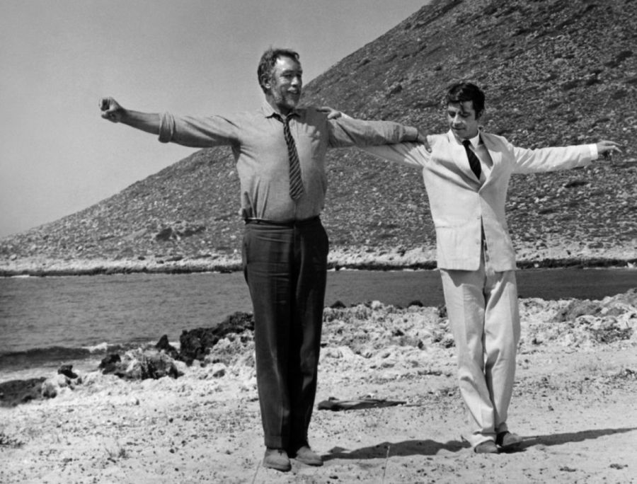 "The famous scene of ""Zorba the Greek"" (1964) with Anthony Quinn dancing at the rhythms of syrtaki on a beach of Stavros village on Crete."