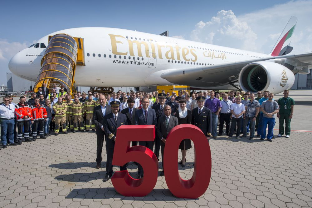Emirates and Airbus employees gather in front of the 50th A380 to celebrate this milestone delivery. Photo © Emirates