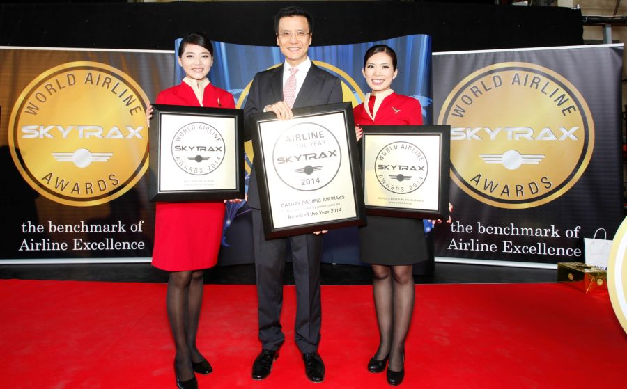 Cathay Pacific Chief Executive Ivan Chu received the award at a ceremony staged by Skytrax at the Farnborough International Air Show. Photo © Cathay Pacific