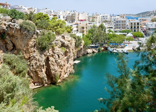 Voulismeni lake of Agios Nikolaos, one of the four regions of Crete. Photo © Havoc, Shutterstock