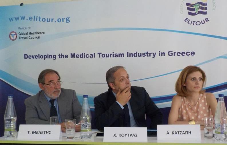 """ELITOUR workshop in Athens: """"Shaping the Greek Market of Medical Tourism in Greece"""" - Takis Meletis (Goldair), Christos Koutras (Greek journalist) and Angeliki Katrsapi (Temos Hellas). Photo source: ELITOUR"""