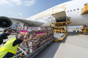 On the ferry flight  for Emirates' 50th A380, the Airbus Foundation and Action For Hunger sent 41 tonnes of cargo consisting of Plumpy Nut food bars to support several existing nutrition programs. This was the single largest humanitarian cargo shipment in the history of Airbus. Photo © Emirates