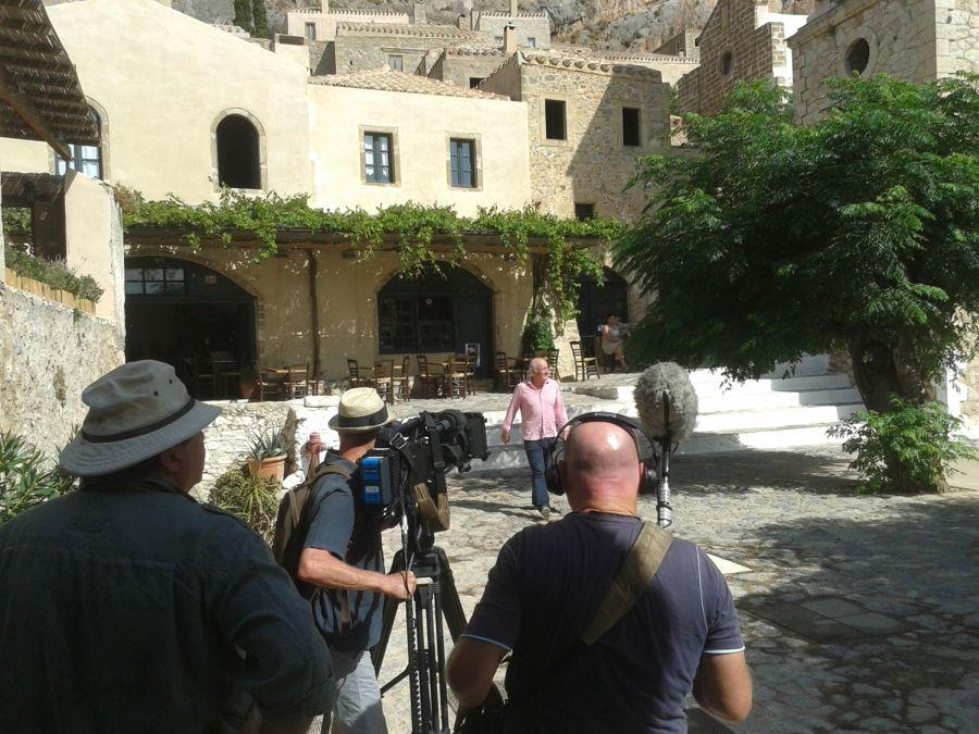 English chef Rick Stein during filming in Monemvasia. Photo © Municipality of Monemvasia