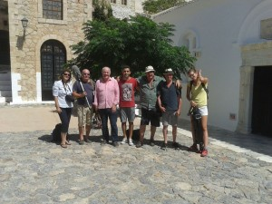 Chef Rick Stein (third from left) with the president of the Monemvasia Tourism Promotion Committee, Babis Lyras (center) and the BBC production crew. Photo © Municipality of Monemvasia
