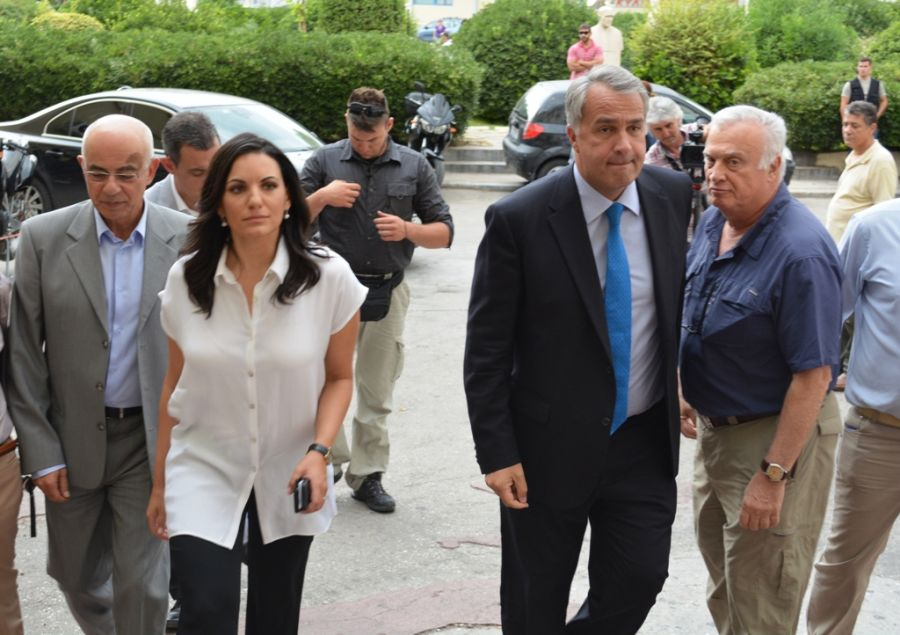 Greek Tourism Minister Olga Kefalogianni and Health Minister Makis Voridis arriving at the Erythros Stavros hospital in Athens, to visit the slightly injured Australian tourist.