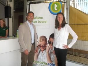 Travelport's VP and Managing Director for Western Europe, Damiano Sabatino with transavia.com's VP of sales, Hester Bruijninckx.