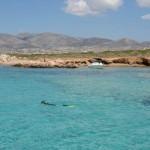 Blue lagoon at Tigani island.