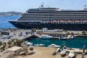 Cruiseship at the Mykonos Port. Photo © Maria Theofanopoulou