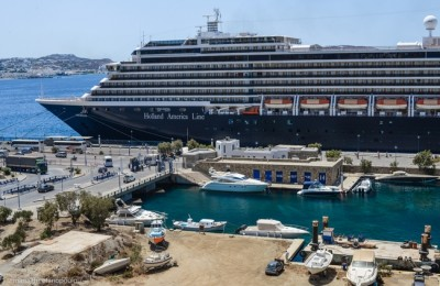 Cruiseship at the Mykonos Port