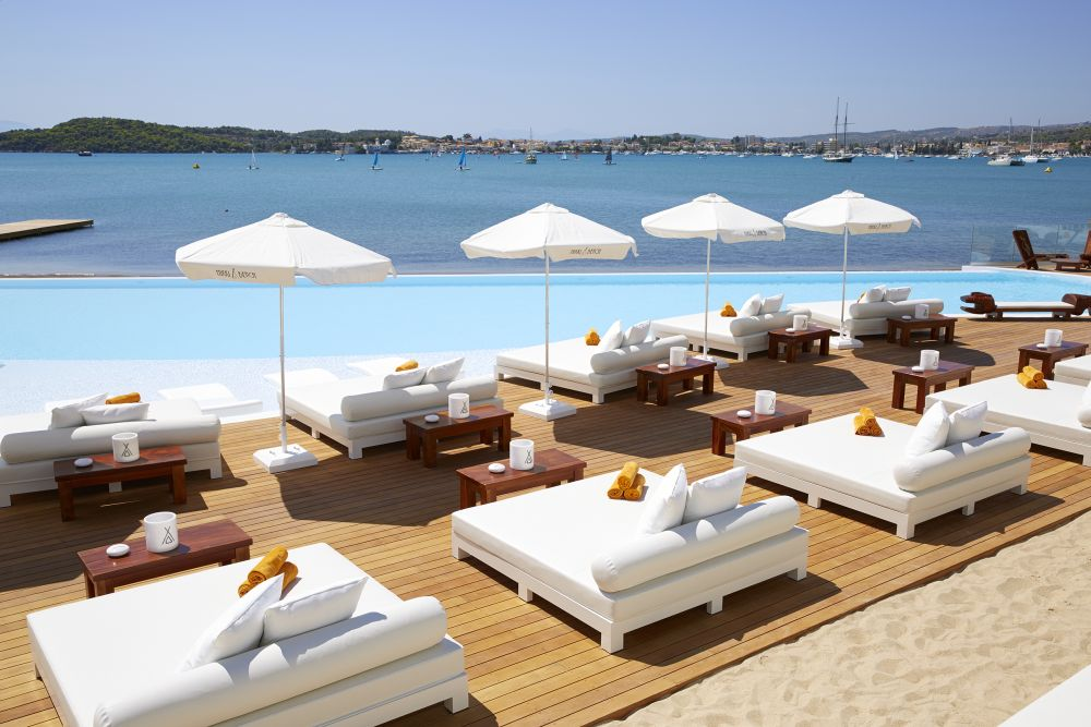 The beach club and view at Nikki Beach Resort & Spa Porto Heli.