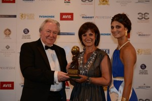 Europe's Leading Regional Airline: Aegean Airlines. Accepting the award is Stavroula Saloutsi, Aegean Airlines' public relations and press director. Photo © WTA