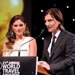 Greek presenters Thodoris Koutsogiannopoulos and Mary Sinatsaki. Photo © WTA