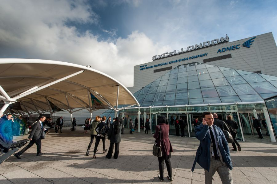 Delegates and exhibitors arriving at WTM 2013 at Excel London.
