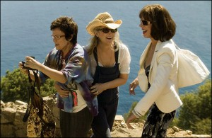 """Scene from the musical romantic comedy filmed in Greece """"Mamma Mia"""" with Julie Walters, Meryl Streep and Christine Baranski."""