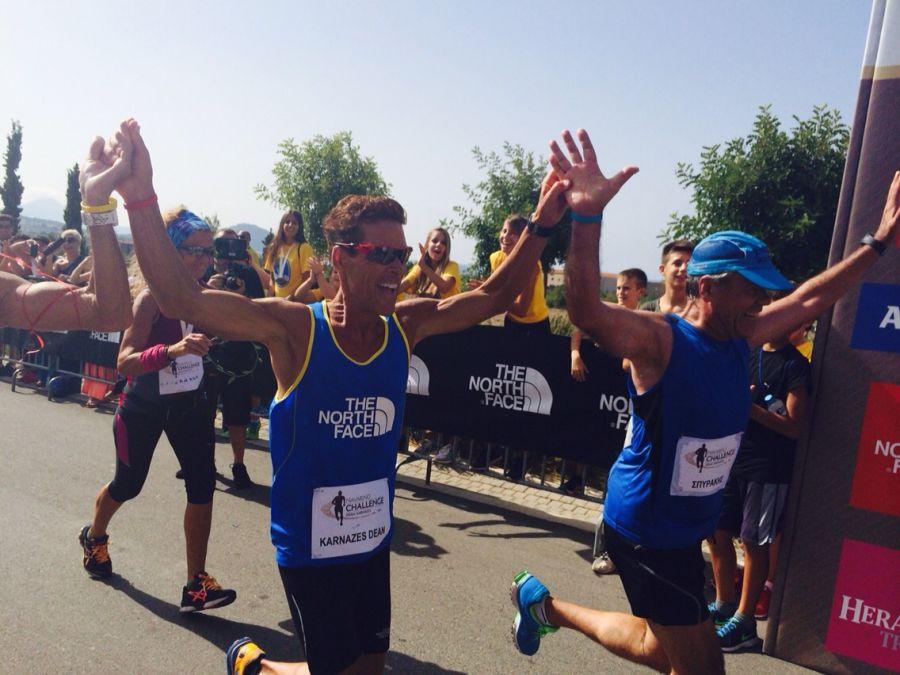 Greek-American ultramarathon man Dean Karnazes running in Navarino Challenge 2014.
