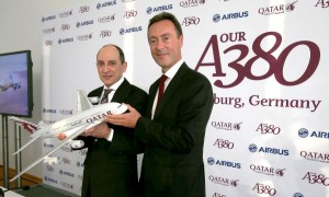 Group Chief Executive His Excellency Mr. Akbar Al Baker and Fabrice Brégier, Airbus President and CEO. Photo source: Qatar Airways