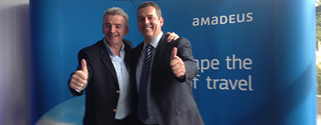 Michael O'Leary, CEO Ryanair and Holger Taubmann, SVP Distribution, Amadeus. Photo source: Amadeus