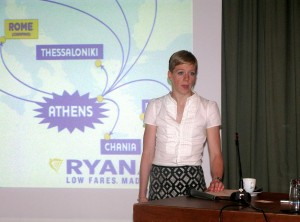 Ryanair's Deputy Director of Route Development, Kate Sherry, speaking to Greek journalists at a press conference in Athens.Photo © GTP