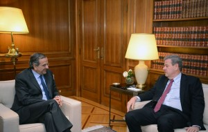 Greek PM Antonis Samaras and TUI Travel PLC CEO Peter Long at the Maximos Mansion in Athens.